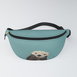 Cute Sea Otter on Teal Solid. Minimalist. Costal. Adorable. Fanny Pack