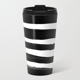 Thick Black Brush lines on White Travel Mug