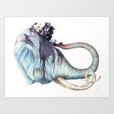 Elephant Shower Art Print