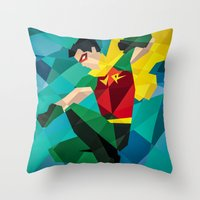 dc comics Throw Pillows featuring DC Comics Robin by Eric Dufresne
