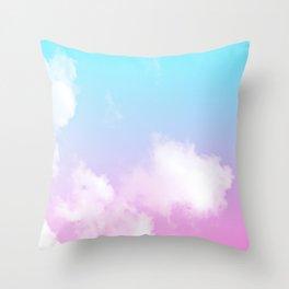 Pink Summer Clouds Throw Pillow