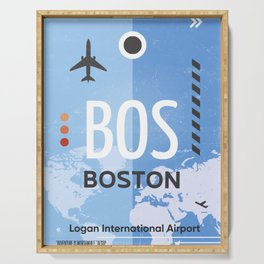 BOS BOSTON US airport code Serving Tray