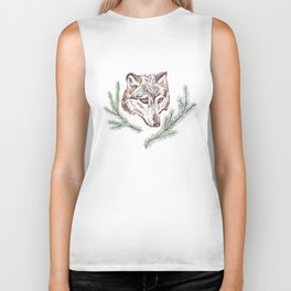 Wolf and Pine Branches Biker Tank