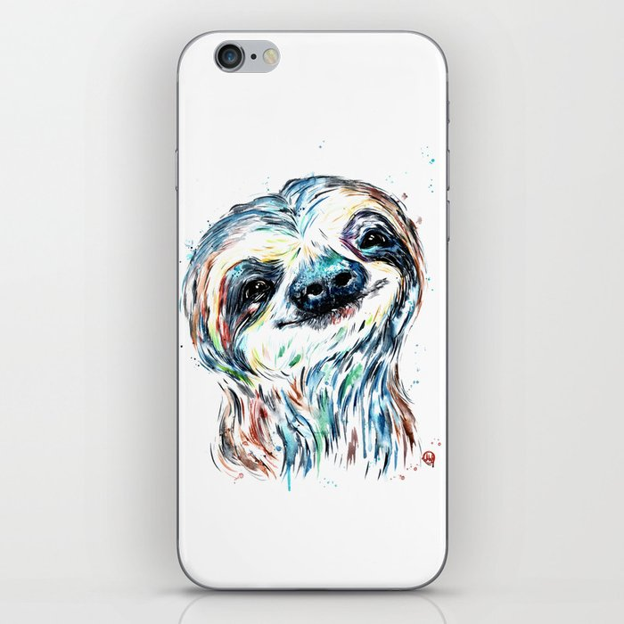 Smiling sloth baby colorful watercolor painting iPhone Skin