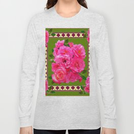 VIBRANT PINK ROSES ON MOSS GREEN PATTERN Long Sleeve T-shirt