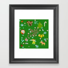 Marry christmas pattern green Framed Art Print