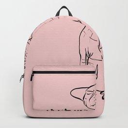 Let's Get Naked - Demon Eyes Sphynx Cat - Line Art - Hairless Wrinkly Kitty- Blush Pink- Joke quote Backpack