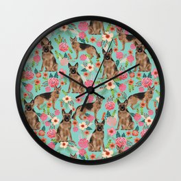 German Shepherd florals gifts for the dog lover dog breeds pet portrait dog art service dogs furbaby Wall Clock