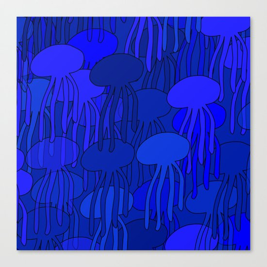 Jellyfish Blue Canvas Print