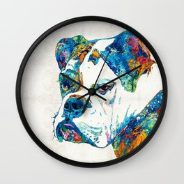 Colorful English Bulldog Art By Sharon Cummings Wall Clock