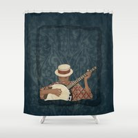 banjo Shower Curtains featuring Banjo by Aquamarine Studio