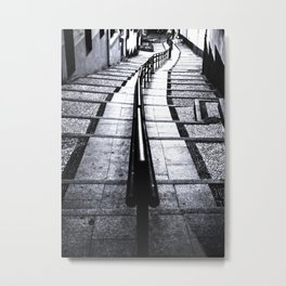 lines and stairs in black and white Metal Print