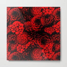 Moody Florals in Red Metal Print