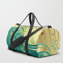 Gold and Green Shamrock Background Duffle Bag