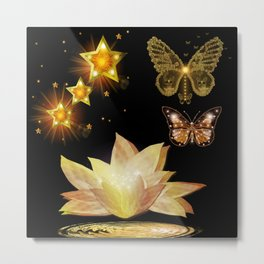 Gold Butterflies and Stars at Night Fantasy Metal Print