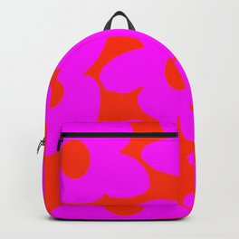 Pink Retro Flowers Orange Red Background #decor #society6 #buyart Backpack