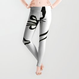 Inky Kitty Continuous Line Art Minimalist Cat Leggings