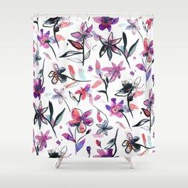 Ink flowers pattern - Viola Shower Curtain