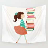 library Wall Tapestries featuring Library Girl by Stephanie Fizer Coleman