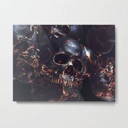 Black Gold Skull Metal Print