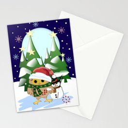 Santa Owl and his Snowman friend Stationery Cards