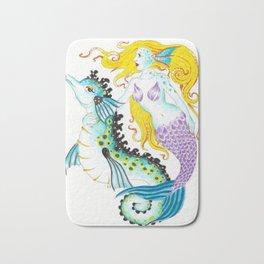 Mermaid And Seahorse Watercolor,Ink Art Bath Mat
