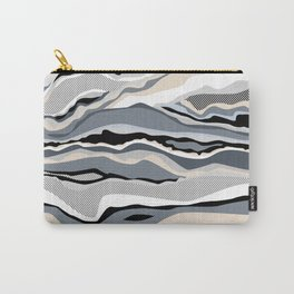 Black and white scandinavian minimal line pattern Carry-All Pouch