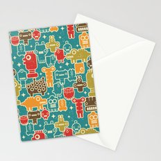 Robots on blue. Stationery Cards