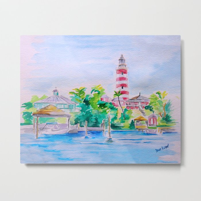 Elbow Reef Lighthouse Hope Town, Abaco, Bahamas Watercolor painting Metal  Print by brucegrant58