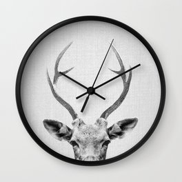 Deer - Black & White Wall Clock