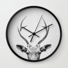 Deer - Black & White Wall Clock