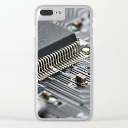 Elements of electronic circuit board Clear iPhone Case
