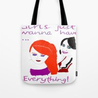 girls Tote Bags featuring Girls by jt7art&design