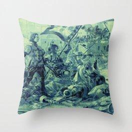 Portuguese history tile art Throw Pillow