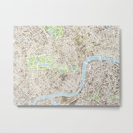 London Sepia watercolor map Metal Print