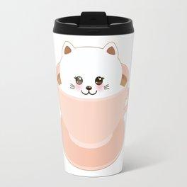 Cute Kawai cat in pink cup Travel Mug