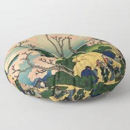 "Hokusai (1760–1849) ""Goten-yama-hill, Shinagawa on the Tōkaidō"" Floor Pillow"