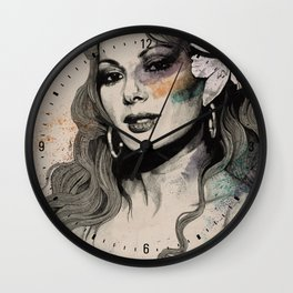 Edwige (street art sexy portrait of Edwige Fenech) Wall Clock