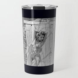 nude woman outside a barn in the midwest Travel Mug