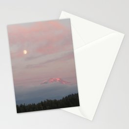 Mount Rainier Moon Rise Stationery Cards