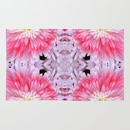 Rose Pink White Flower Blossoms Dahlias Rug