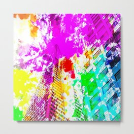 pyramid building and modern building exterior at San Francisco, USA with colorful painting abstract Metal Print