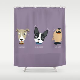 Three wise dogs Shower Curtain