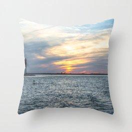 Sunset at Long Beach Island Throw Pillow