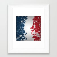 france Framed Art Prints featuring France by Flat Design