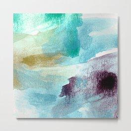 Abstract Waves, Brushed Watercolor Aqua Blue Metal Print