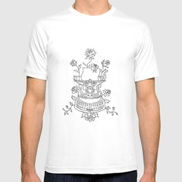 Antique Typewriter Entwined in Roses T-shirt