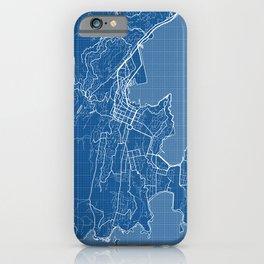 Wellington City Map of New Zealand - Blueprint iPhone Case