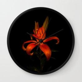 Orange Lily Wall Clock
