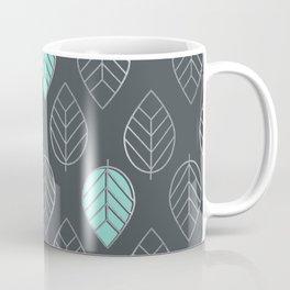 Mint & Silver Leaves Pattern & Slate Coffee Mug